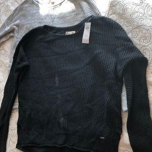 Hollister waffle knit sweater NWT black